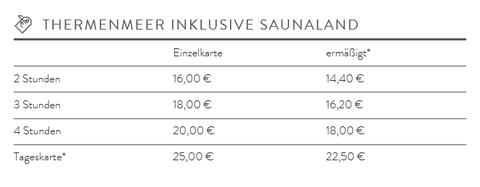 Bad Staffelstein Tarif ink. Sauna