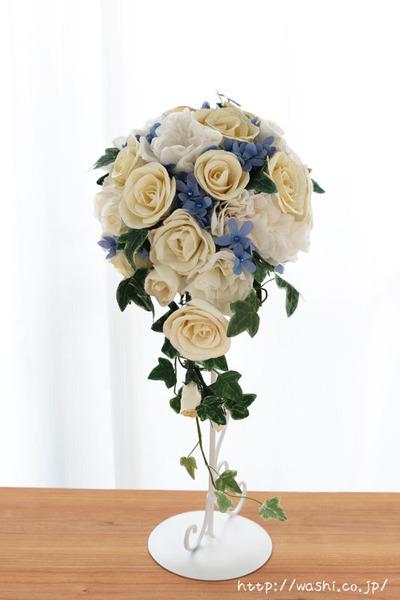 結婚1周年の紙婚式プレゼント。トルコ桔梗とアイビーの和紙ブーケ (正面)