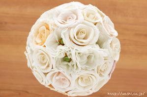 バラとトルコ桔梗の和紙ブーケ・花束(世界に一つだけの紙婚式プレゼント)真上