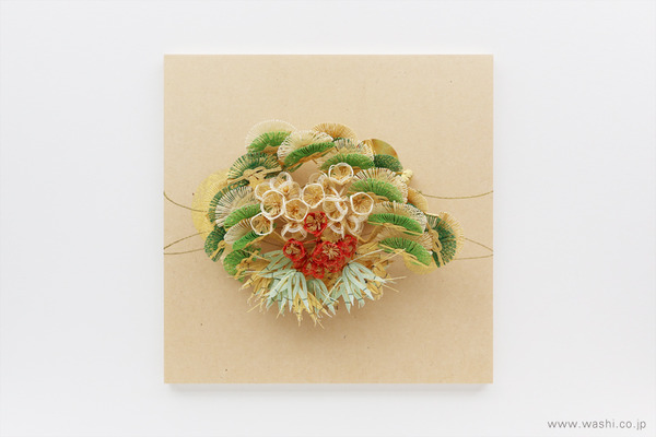 結納飾りをリメイクして3種類の角型アートパネルに (松竹梅)