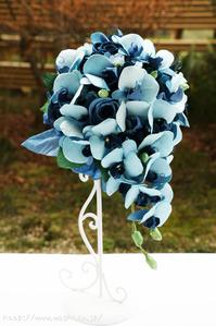 結婚1周年記念日和紙ブーケ・花束(青い胡蝶蘭・薔薇) (2)