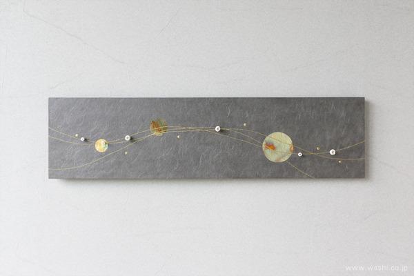 水引飾りを取付けて陰影を楽しむ−和紙マグネットアートパネル (玉飾りのみアレンジ)