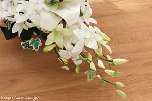 紙婚式・結婚記念日の和紙の花束ペーパーフラワーブーケ(カサブランカ・デンファレ)つぼみアップ