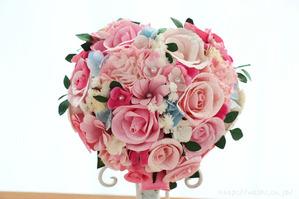結婚1周年の紙婚式プレゼント。ハート形の和紙ブーケ (2)