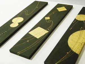 金沢の本金箔と金樹脂デザイン(結納水引リメイクパネル)