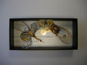 鶴と亀(結納水引飾りリメイク額)