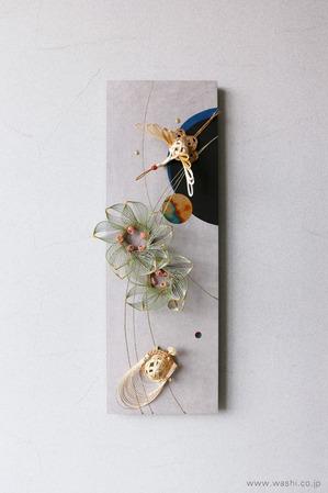 しっとりと落ち着いた雰囲気の結納品リメイクアートパネル (鶴亀・月桂樹)