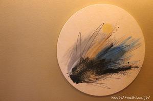 四季をイメージした和紙の円形インテリアアートパネル (夏)