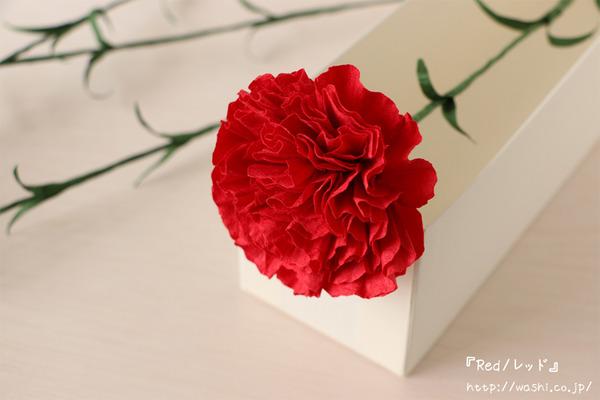 母の日の特別な「和紙製カーネーション」プレゼント・ギフト (Red/レッド)