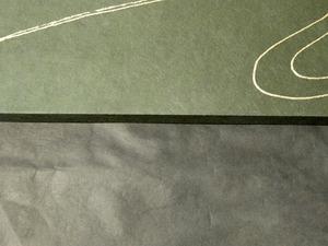 上が緑漆染めパネル、下が黒色の楮紙です。