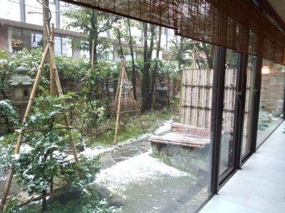 お庭を見ると、うっすら雪景色