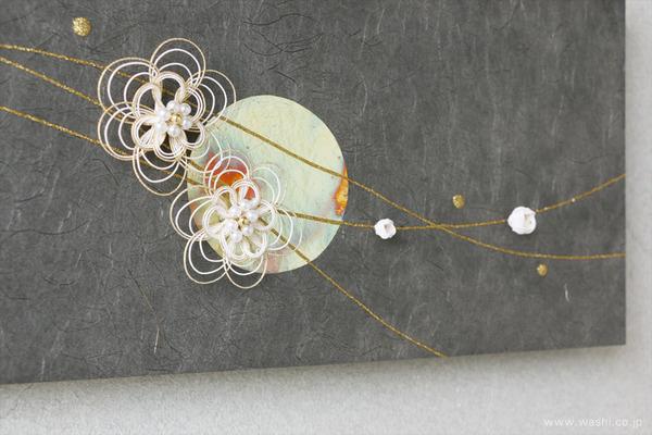 水引飾りを取付けて陰影を楽しむ−和紙マグネットアートパネル (デザイン部分アップ)