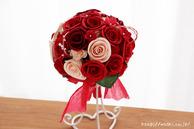 和紙の花(結婚1周年の紙婚式や、プロポーズプレゼントに最適な受注生産品の和紙ラウンドブーケ・花束)レッド、正面