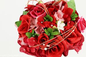 結婚1周年(紙婚式)のプレゼントにオススメの和紙ブーケ・花束(赤)アップ