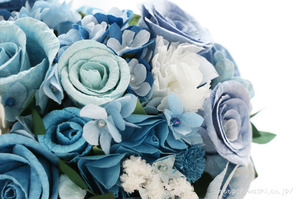 結婚式のサプライズプレゼント!サムシングブルーの和紙ブーケ・花束(花部分アップ)