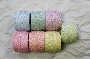 紙糸の新色(優しい色合い)並べた写真