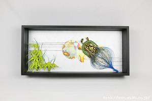 鮮やかな色合いの竹と亀の水引飾りを使ったレイアウト例(結納水引リメイク額)