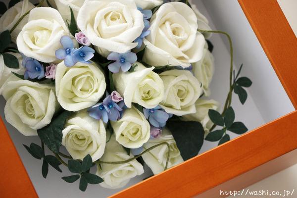 和紙の花ペーパーフラワーで、痛んだ結婚式のプリザーブドフラワーを元の美しい姿に再現。3Dフレーム・立体額 (繊細な色表現)