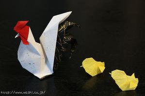 干支の折り紙(酉(ニワトリ)の親子)