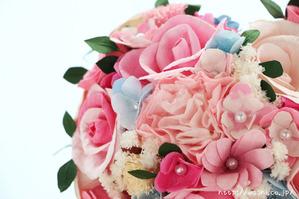 結婚1周年の紙婚式プレゼント。ハート形の和紙ブーケ (3)