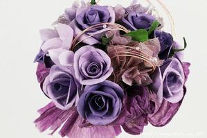 結婚1周年(紙婚式)のプレゼントにオススメの和紙ブーケ・花束(紫)アップ