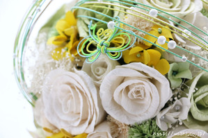 和紙の花「菜の花ウェディングブーケ」 アップ写真