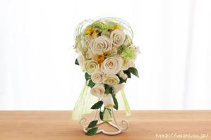 和紙の花「菜の花ウェディングブーケ」真正面からの写真