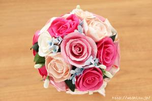 初めての結婚記念日「紙婚式」に贈る、ピンク系バラの和紙ブーケ・花束 (2)