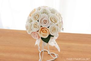 バラとトルコ桔梗の和紙ブーケ・花束(世界に一つだけの紙婚式プレゼント)正面