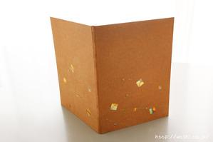 創作デザイン和紙メニューブックカバー (漆と五彩箔)