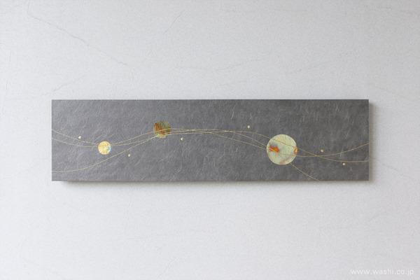 水引飾りを取付けて陰影を楽しむ−和紙マグネットアートパネル (パネル単体)