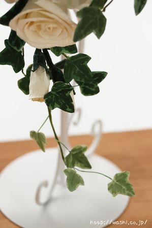 結婚1周年の紙婚式プレゼント。トルコ桔梗とアイビーの和紙ブーケ (アイビー)