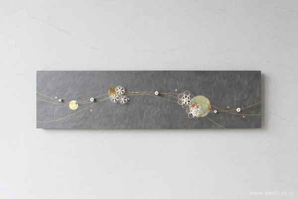 水引飾りを取付けて陰影を楽しむ−和紙マグネットアートパネル