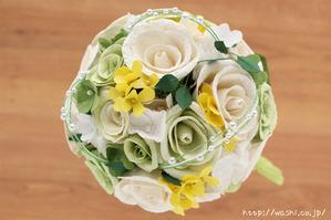 菜の花とバラの和紙の花束・ブーケ(結婚記念日・紙婚式のプレゼント)上部