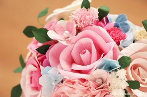結婚1周年の紙婚式プレゼント。ハート形の和紙ブーケ (5)