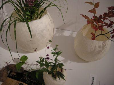 和紙の花器(金沢市長賞)斜め上から