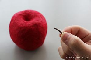 ヘタを取付ける(リンゴ型オブジェの作り方)2
