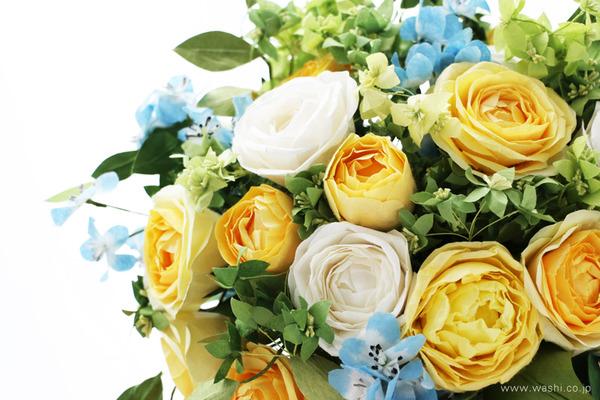 和紙の花オーダー品・ご結婚1周年記念に再現ブーケのプレゼント (花部アップ)