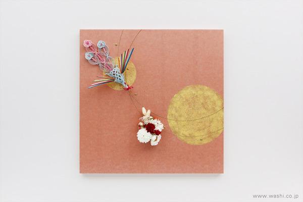結納飾りをリメイクして3種類の角型アートパネルに (鳳凰と花飾り)