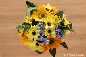 結婚記念日・紙婚式オーダーメイド。ひまわりの和紙花束オーダーメイド品(真上)