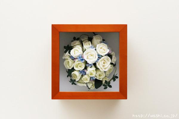 和紙の花ペーパーフラワーで、痛んだ結婚式のプリザーブドフラワーを元の美しい姿に再現。3Dフレーム・立体額 (正面)
