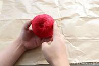 カットラインに和紙を貼る2回目(リンゴ型オブジェの作り方) (1)