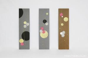 ベンガラ・漆染め和紙を使用した、結納水引リメイクパネル(梅水引のみのレイアウト)