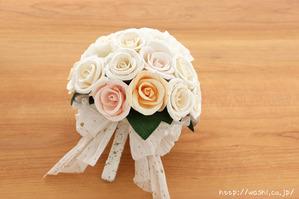 バラとトルコ桔梗の和紙ブーケ・花束(世界に一つだけの紙婚式プレゼント)持ち手部分