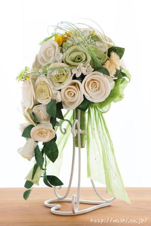 和紙の花「菜の花ウェディングブーケ」真横からの写真