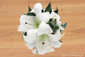 紙婚式・結婚記念日の和紙の花束ペーパーフラワーブーケ(カサブランカ・デンファレ)上面