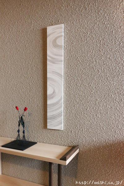 washi art panel 水の波紋柄の和紙インテリアアートパネル(斜めから)