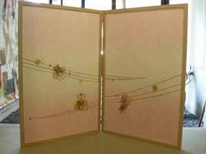 結納水引飾りのリメイク屏風(淡いピンクの色合い)