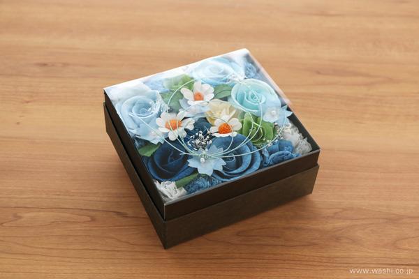 青いバラを主体とした、開業祝いの和紙の花フラワーボックス (埃を気にせず飾れるフィルム付き)
