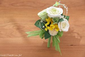 和紙の花「菜の花ウェディングブーケ」 ブートニア